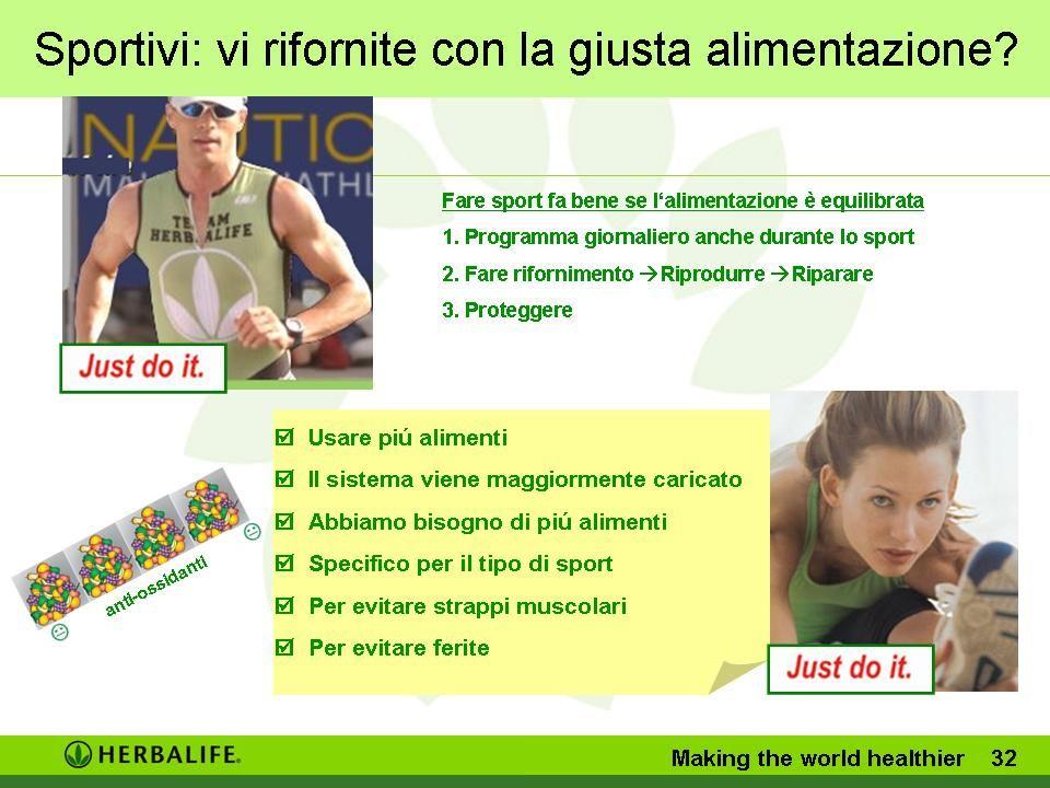 Sportivi: vi rifornite con la giusta alimentazione? Making the world healthier 31