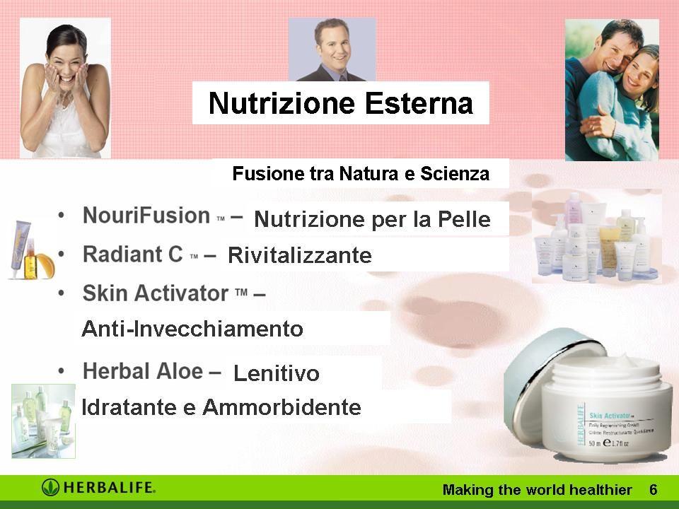 Making the world healthier 6 Nutrizione Esterna Fusione tra Natura e Scienza Anti-Invecchiamento Lenitivo Rivitalizzante Nutrizione per la Pelle Idratante e Ammorbidente
