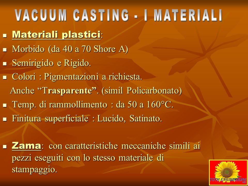 Materiali plastici : Materiali plastici : Morbido (da 40 a 70 Shore A) Morbido (da 40 a 70 Shore A) Semirigido e Rigido. Semirigido e Rigido. Colori :