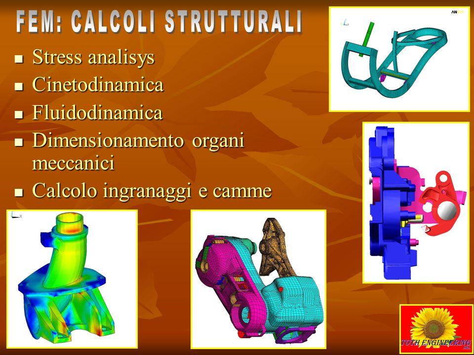 Stress analisys Cinetodinamica Fluidodinamica Dimensionamento organi meccanici Calcolo ingranaggi e camme