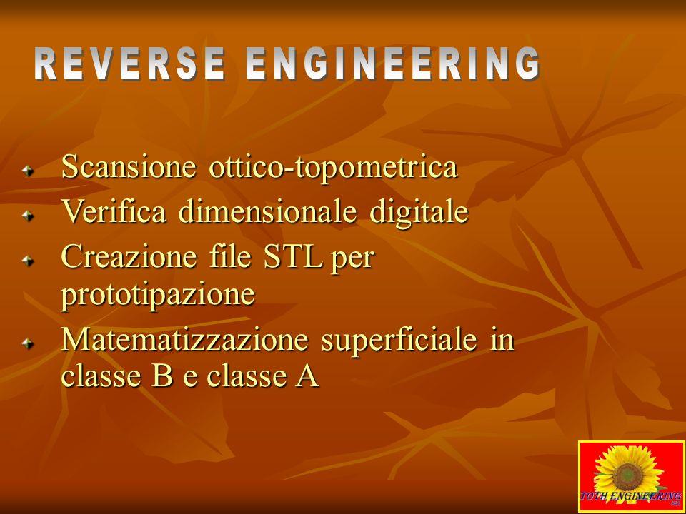 Scansione ottico-topometrica Verifica dimensionale digitale Creazione file STL per prototipazione Matematizzazione superficiale in classe B e classe A