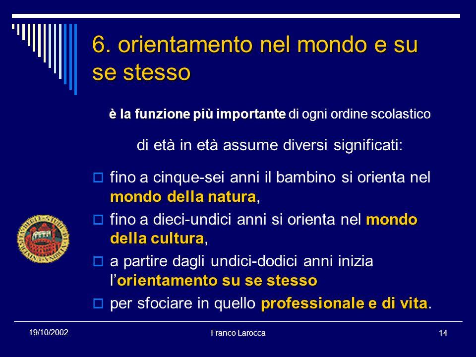 Franco Larocca14 19/10/2002 6. orientamento nel mondo e su se stesso è la funzione più importante è la funzione più importante di ogni ordine scolasti