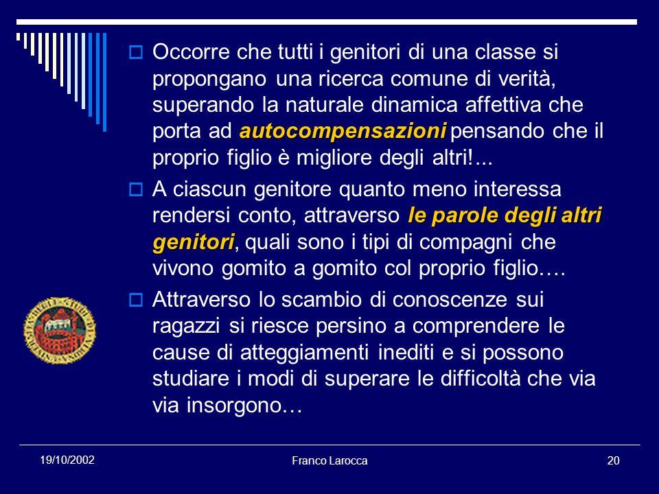 Franco Larocca20 19/10/2002 autocompensazioni Occorre che tutti i genitori di una classe si propongano una ricerca comune di verità, superando la natu