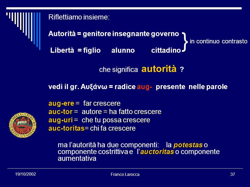 Franco Larocca37 19/10/2002 Riflettiamo insieme: Autorità = genitore insegnante governo Libertà = figlio alunno cittadino che significa autorità ? ved