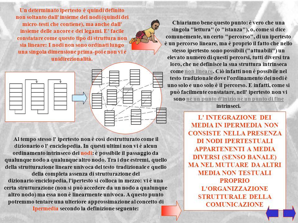 Linguaggio Ipertestuale La caratteristica concettuale fondamentale dell'ipertesto è quella di rompere la linearità del testo. Permettere cioè legami t