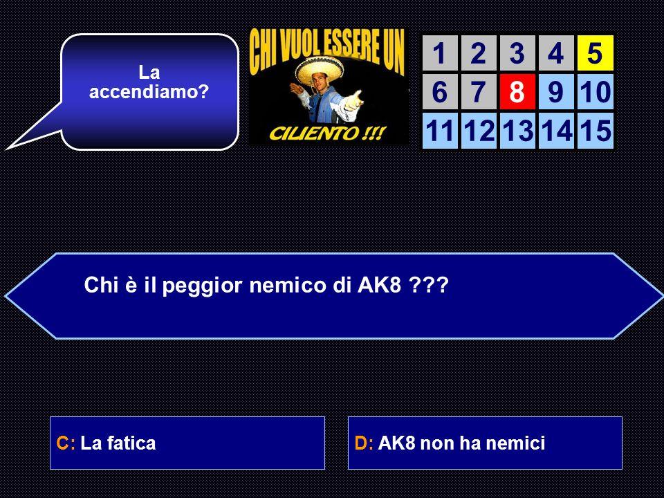 A: La mammaB: Gli sbirri C: La faticaD: AK8 non ha nemici Signori e signore, oggi qui con me cè un vero esperto! Avanti allora. AIUTO DEL AIUTO DEL CO