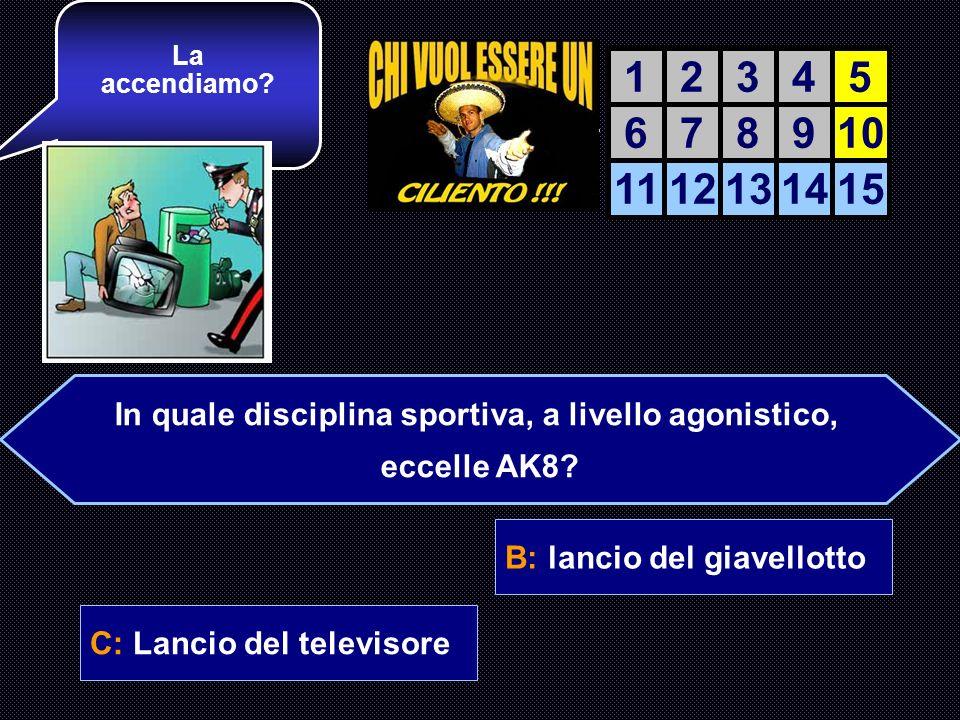 A: Lancio del pesoB: lancio del giavellotto C: Lancio del televisoreD: lancio del martello Ora una domanda Di sport… AIUTO DEL AIUTO DEL COMPUTER 1234