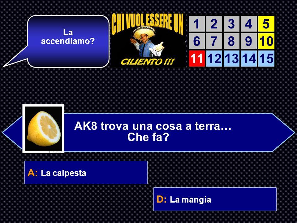 A: La calpesta B: La tocca C: La guarda D: La mangia Una domanda di culinaria: concentrati, hai tutto il tempo! AIUTO DEL AIUTO DEL COMPUTER 12345 678