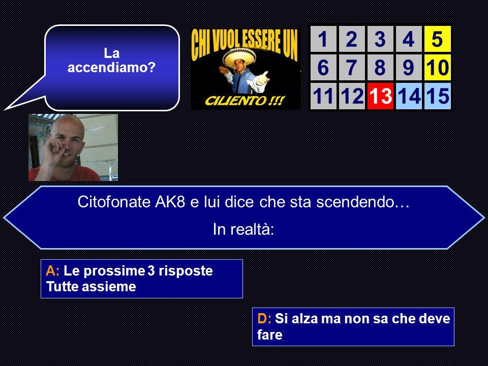 A: Le prossime 3 risposte Tutte assieme B: Si scaccola fissando il monitor C: Continua ad usare msn D: Si alza ma non sa che deve fare Bravo! Ancora t