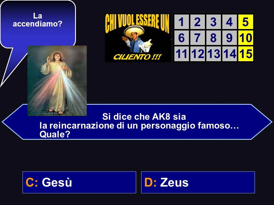A: BuddhaB: Maometto C: GesùD: Zeus Ultima domanda. Ricordati: only the brave, solo i coraggiosi ce la fanno. AIUTO DEL AIUTO DEL COMPUTER 12345 67891