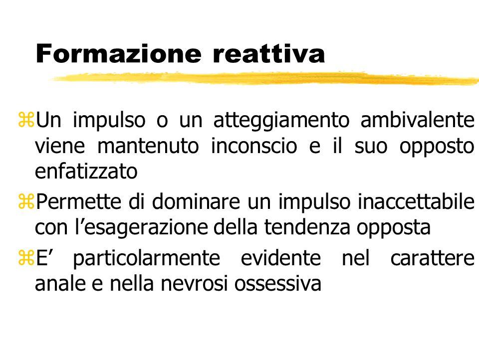 Formazione reattiva zUn impulso o un atteggiamento ambivalente viene mantenuto inconscio e il suo opposto enfatizzato zPermette di dominare un impulso