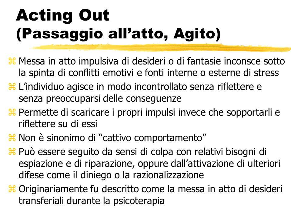 Acting Out (Passaggio allatto, Agito) zMessa in atto impulsiva di desideri o di fantasie inconsce sotto la spinta di conflitti emotivi e fonti interne