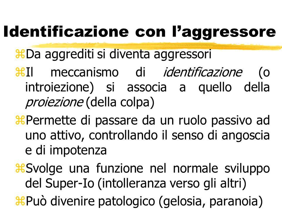 Identificazione con laggressore zDa aggrediti si diventa aggressori zIl meccanismo di identificazione (o introiezione) si associa a quello della proie