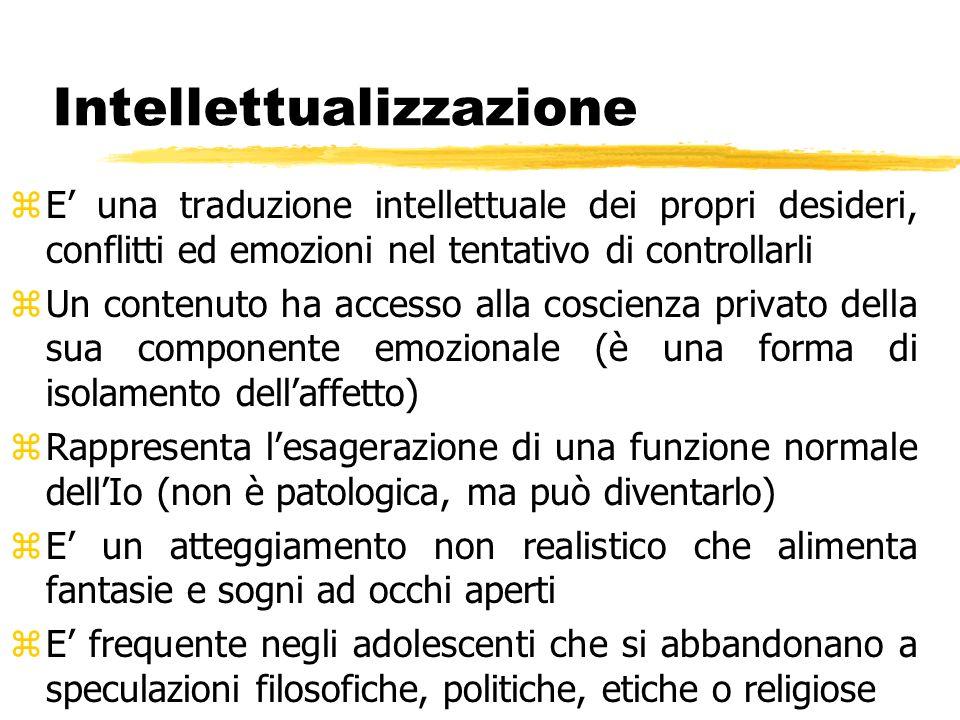 Intellettualizzazione zE una traduzione intellettuale dei propri desideri, conflitti ed emozioni nel tentativo di controllarli zUn contenuto ha access