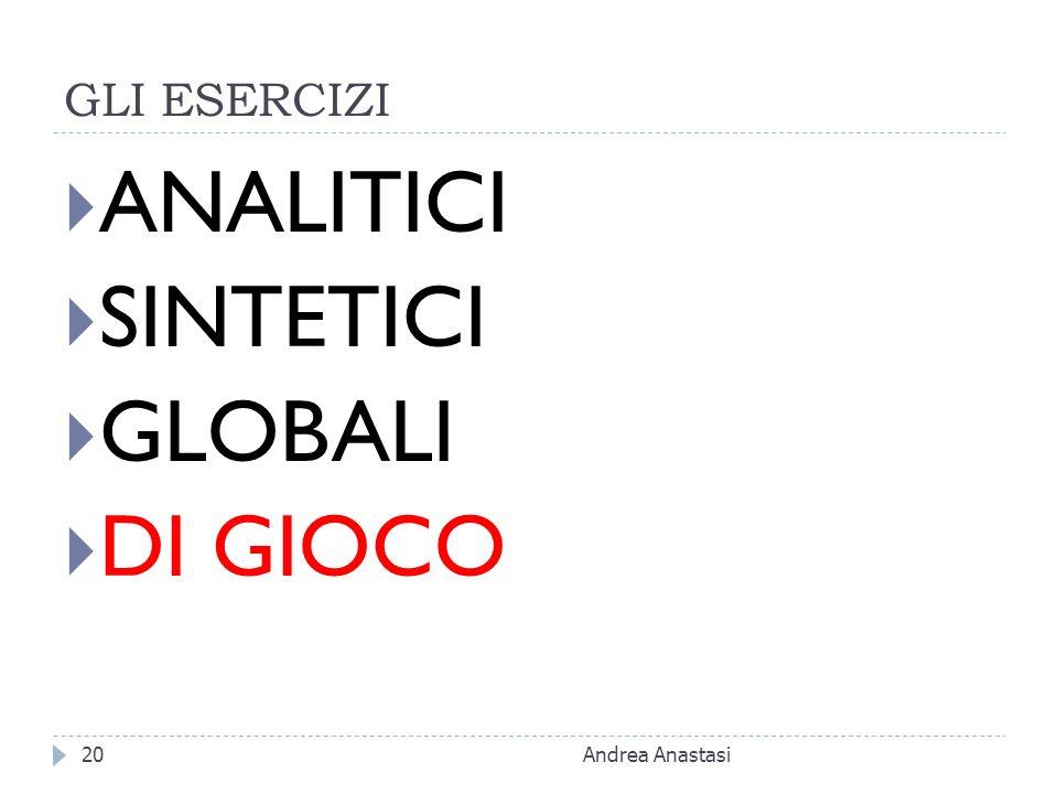 GLI ESERCIZI ANALITICI SINTETICI GLOBALI DI GIOCO Andrea Anastasi20