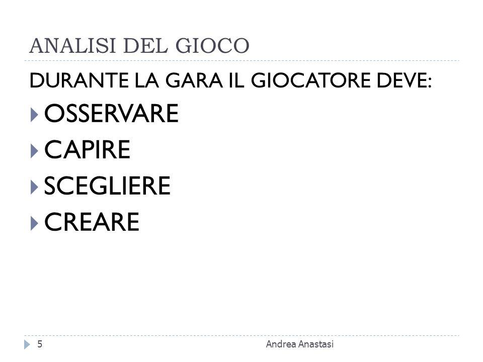 ANALISI DEL GIOCO DURANTE LA GARA IL GIOCATORE DEVE: OSSERVARE CAPIRE SCEGLIERE CREARE Andrea Anastasi5