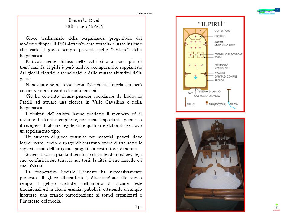 La trottola dei tre laghi 1 Breve storia del Pirlì in bergamasca Gioco tradizionale della bergamasca, progenitore del moderno flipper, il Pirlì -lette