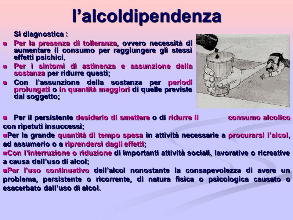 lalcoldipendenza Si diagnostica : Per la presenza di tolleranza, ovvero necessità di aumentare il consumo per raggiungere gli stessi effetti psichici,