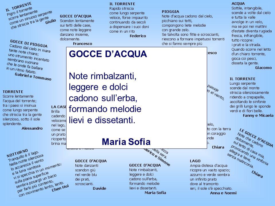 GOCCE DACQUA Note rimbalzanti, leggere e dolci cadono sullerba, formando melodie lievi e dissetanti.
