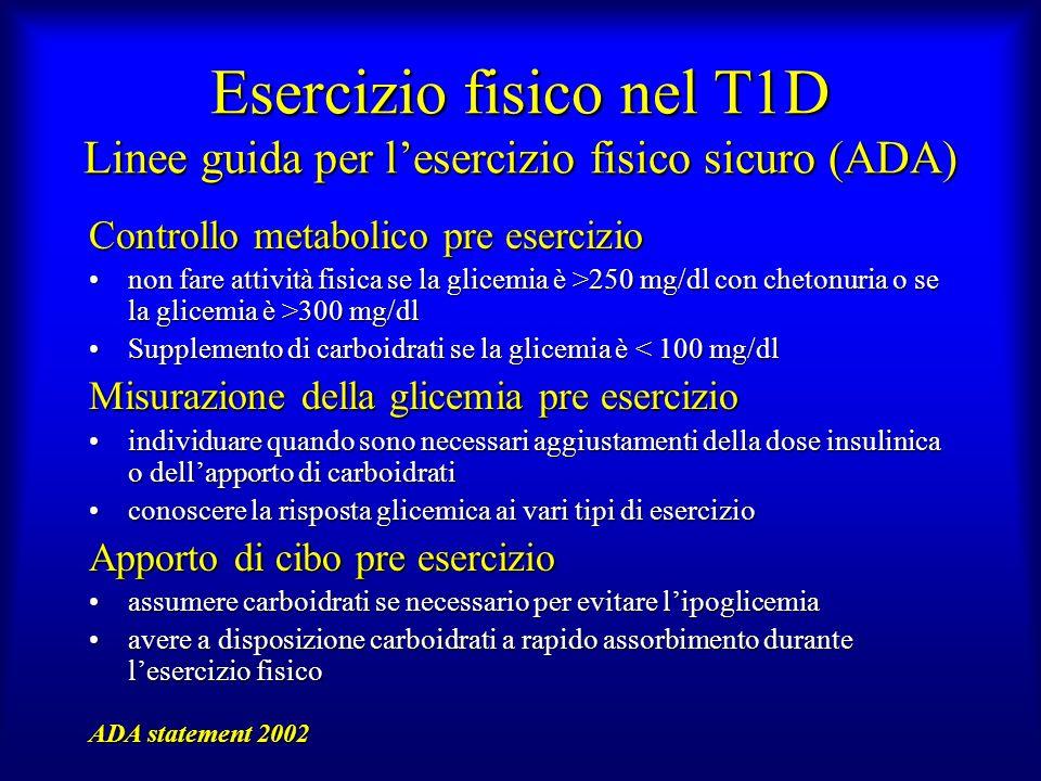 Esercizio fisico nel T1D Linee guida per lesercizio fisico sicuro (ADA) Controllo metabolico pre esercizio non fare attività fisica se la glicemia è >
