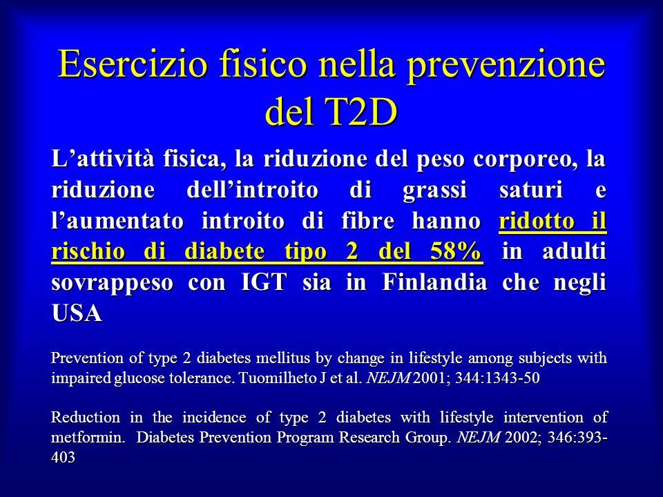 Esercizio fisico nella prevenzione del T2D Lattività fisica, la riduzione del peso corporeo, la riduzione dellintroito di grassi saturi e laumentato i