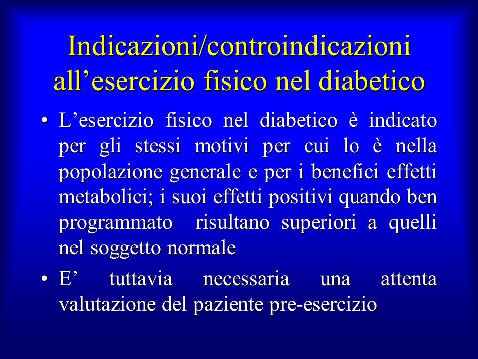 Indicazioni/controindicazioni allesercizio fisico nel diabetico Lesercizio fisico nel diabetico è indicato per gli stessi motivi per cui lo è nella po