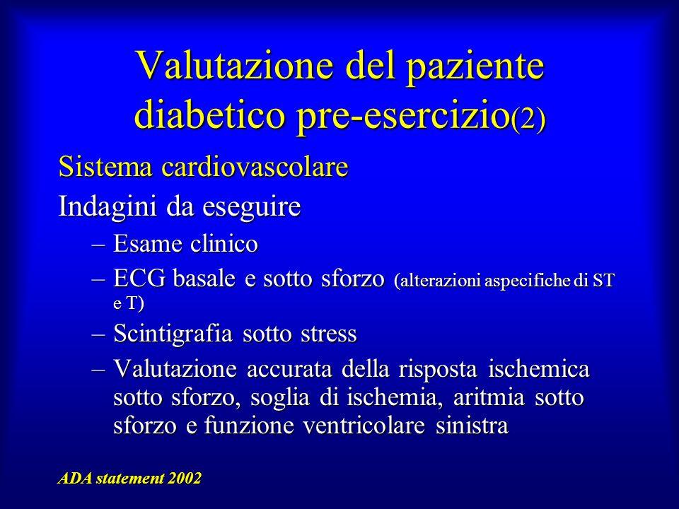 Valutazione del paziente diabetico pre-esercizio (2) Sistema cardiovascolare Indagini da eseguire –Esame clinico –ECG basale e sotto sforzo (alterazio
