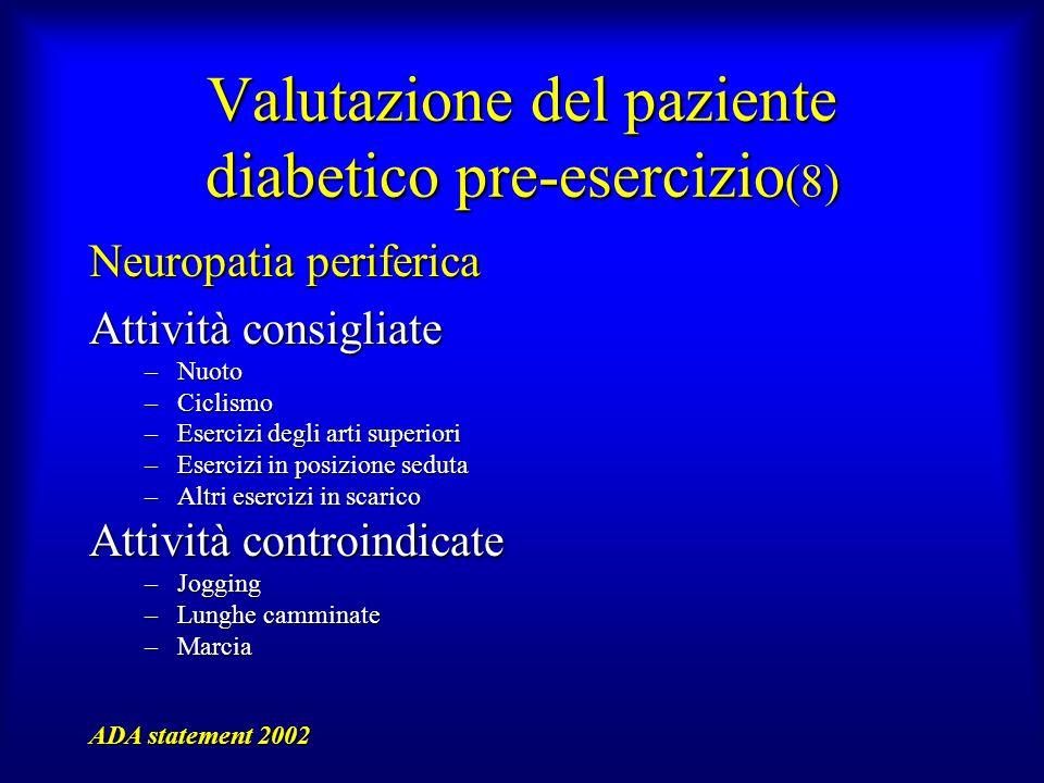 Valutazione del paziente diabetico pre-esercizio (8) Neuropatia periferica Attività consigliate –Nuoto –Ciclismo –Esercizi degli arti superiori –Eserc
