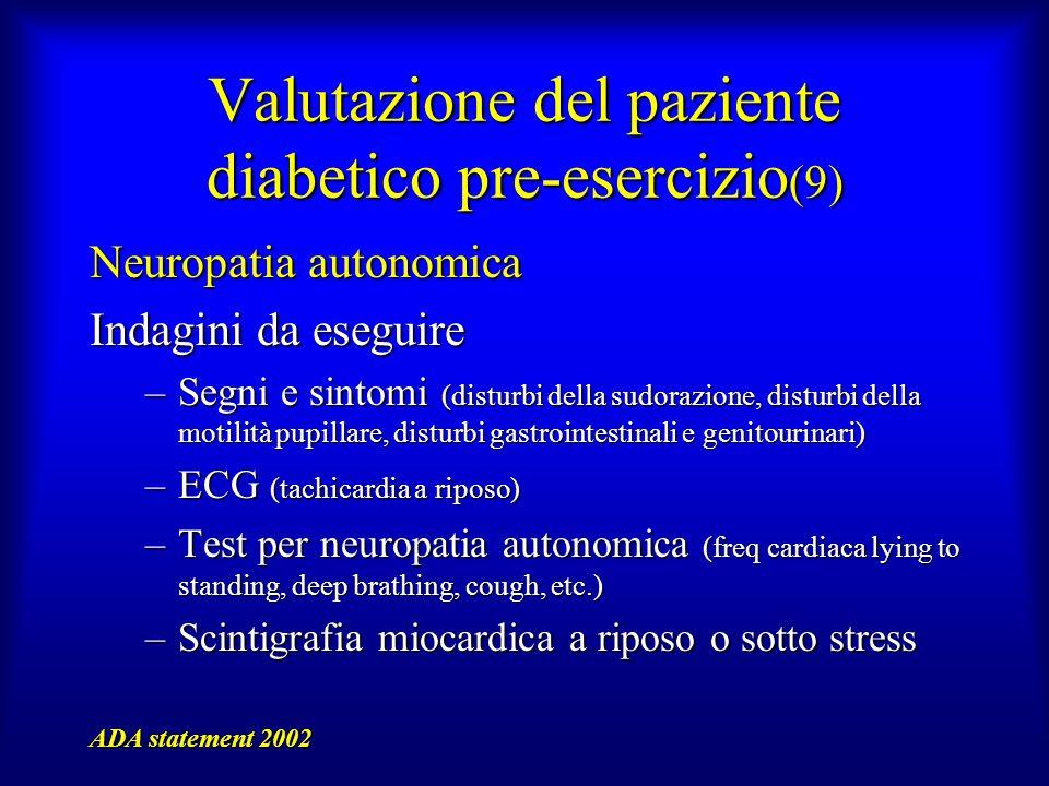 Valutazione del paziente diabetico pre-esercizio (9) Neuropatia autonomica Indagini da eseguire –Segni e sintomi (disturbi della sudorazione, disturbi