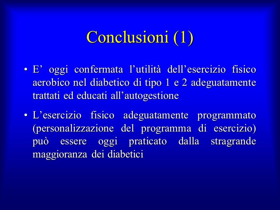 Conclusioni (1) E oggi confermata lutilità dellesercizio fisico aerobico nel diabetico di tipo 1 e 2 adeguatamente trattati ed educati allautogestione