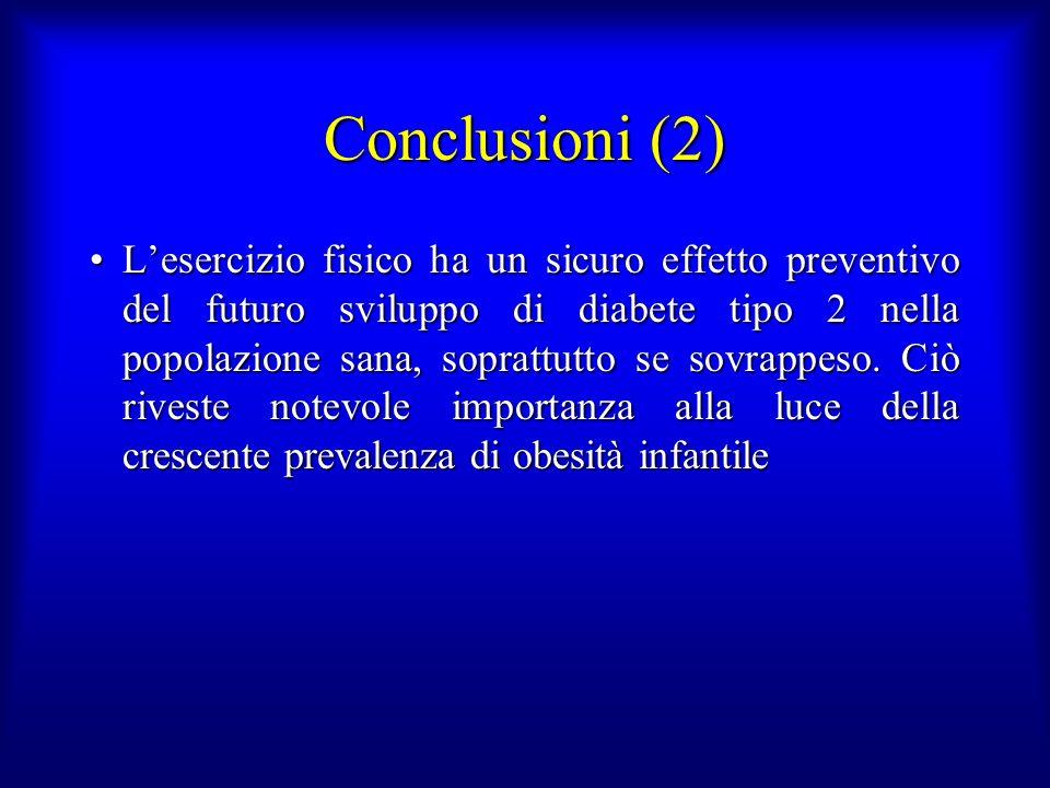 Conclusioni (2) Lesercizio fisico ha un sicuro effetto preventivo del futuro sviluppo di diabete tipo 2 nella popolazione sana, soprattutto se sovrapp
