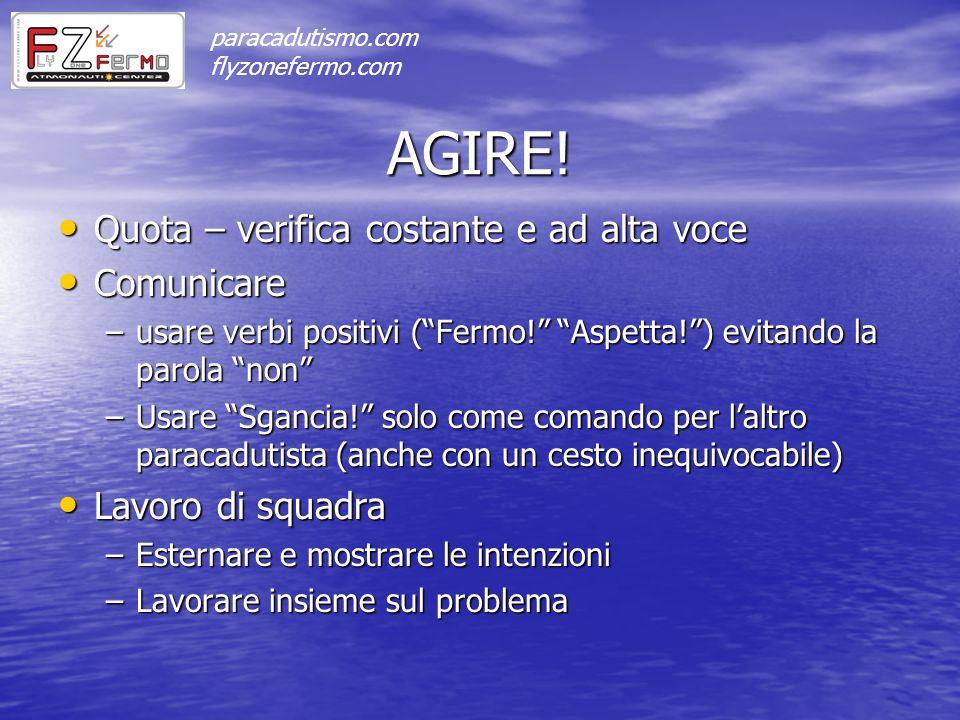 AGIRE! Quota – verifica costante e ad alta voce Quota – verifica costante e ad alta voce Comunicare Comunicare –usare verbi positivi (Fermo! Aspetta!)