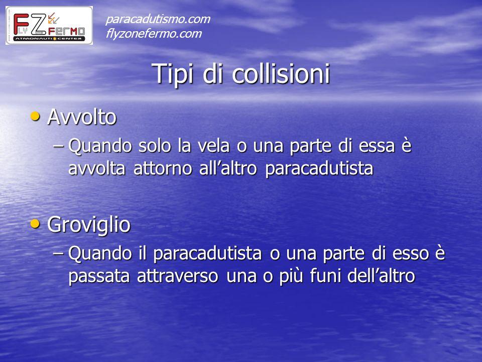 Tipi di collisioni Avvolto Avvolto –Quando solo la vela o una parte di essa è avvolta attorno allaltro paracadutista Groviglio Groviglio –Quando il pa