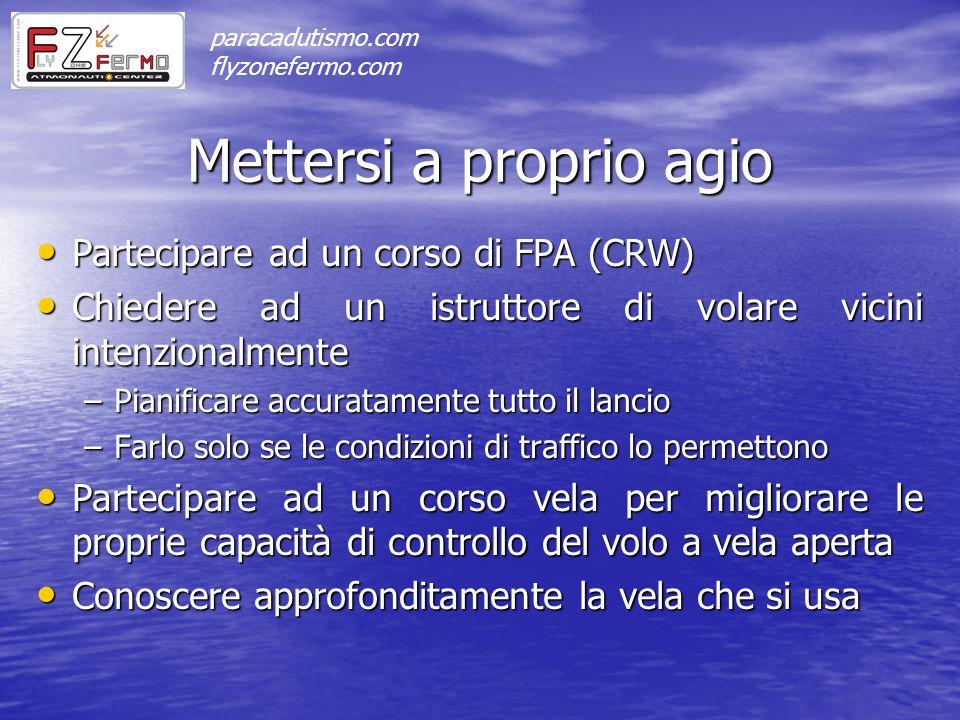 Mettersi a proprio agio Partecipare ad un corso di FPA (CRW) Partecipare ad un corso di FPA (CRW) Chiedere ad un istruttore di volare vicini intenzion