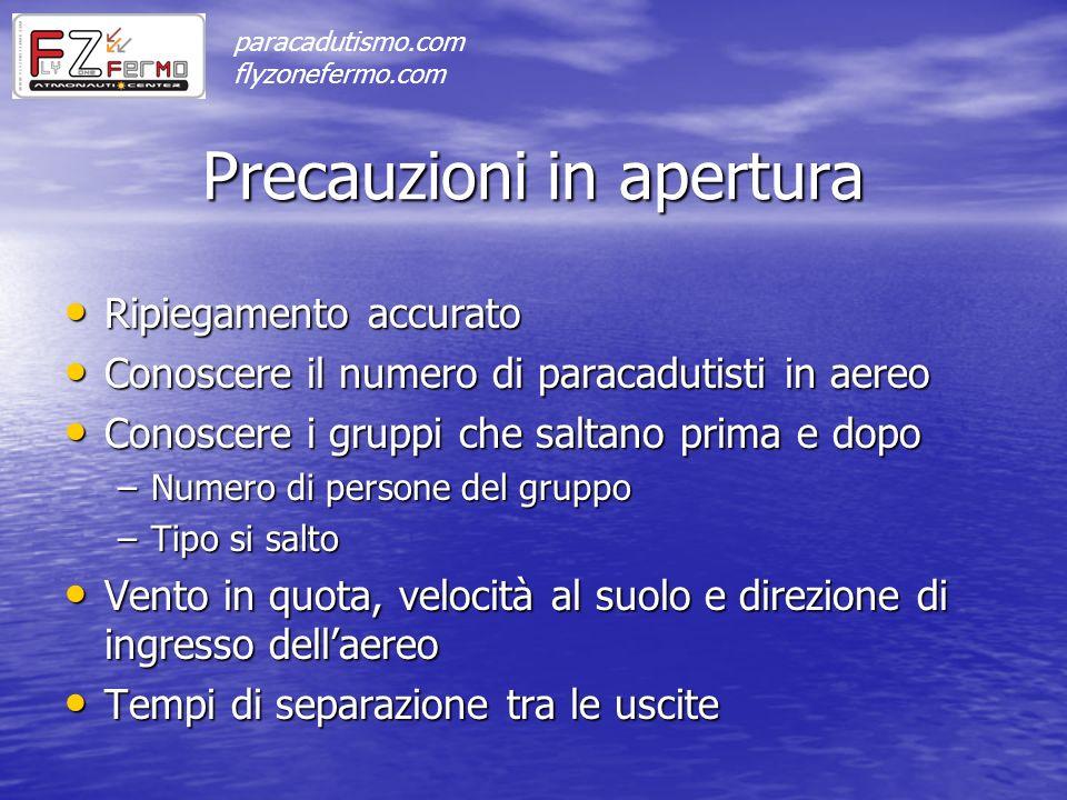 Precauzioni in apertura Ripiegamento accurato Ripiegamento accurato Conoscere il numero di paracadutisti in aereo Conoscere il numero di paracadutisti
