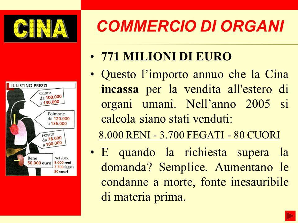 COMMERCIO DI ORGANI 771 MILIONI DI EURO Questo limporto annuo che la Cina incassa per la vendita all estero di organi umani.
