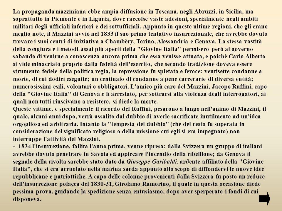 Un gruppo venne fermato dalle truppe svizzere prima ancora di aver varcato i confini del Regno di Sardegna; altre due schiere, non sostenute dalle popolazioni, furono facilmente disperse dalle pattuglie di Carlo Alberto.