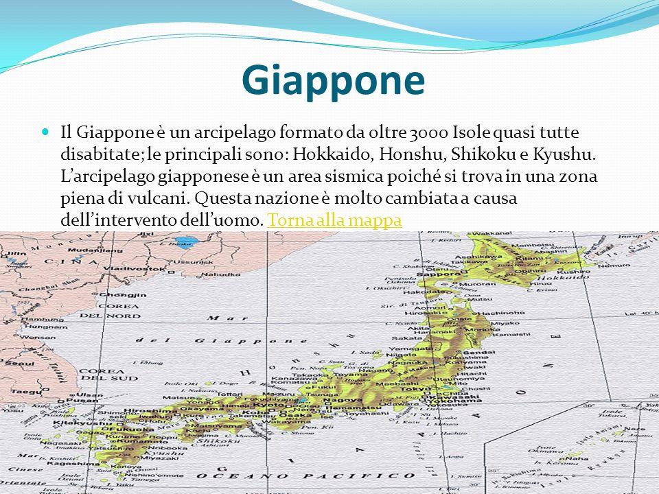 Giappone Il Giappone è un arcipelago formato da oltre 3000 Isole quasi tutte disabitate; le principali sono: Hokkaido, Honshu, Shikoku e Kyushu. Larci