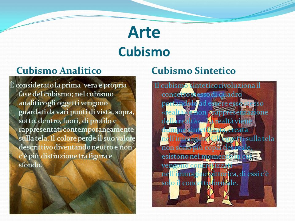 Arte Cubismo Cubismo Analitico Cubismo Sintetico È considerato la prima vera e propria fase del cubismo; nel cubismo analitico gli oggetti vengono gua