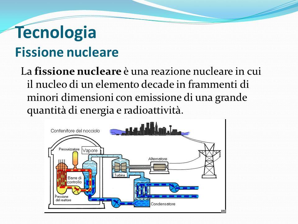Tecnologia Fissione nucleare La fissione nucleare è una reazione nucleare in cui il nucleo di un elemento decade in frammenti di minori dimensioni con
