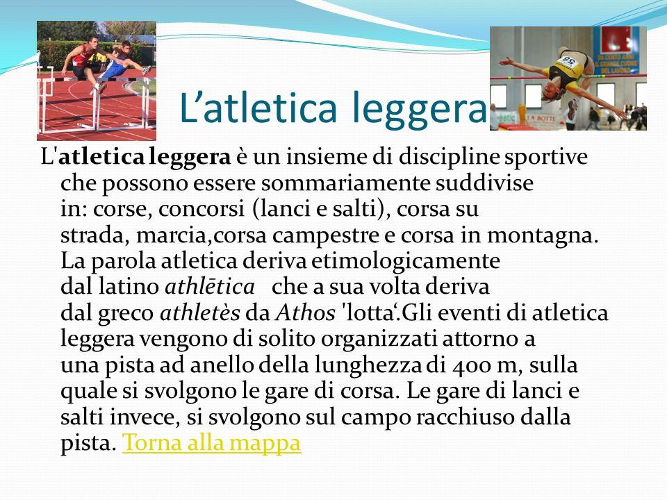 Latletica leggera L'atletica leggera è un insieme di discipline sportive che possono essere sommariamente suddivise in: corse, concorsi (lanci e salti