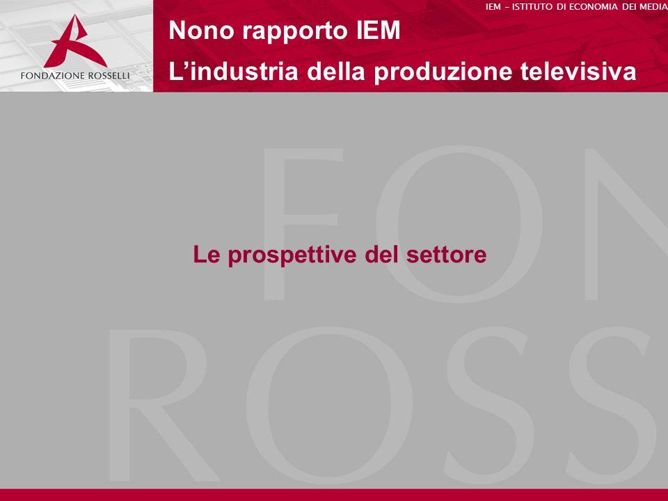 Le prospettive del settore Nono rapporto IEM Lindustria della produzione televisiva IEM - ISTITUTO DI ECONOMIA DEI MEDIA