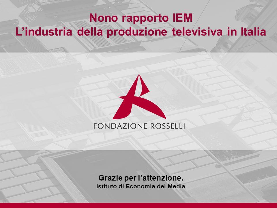 Nono rapporto IEM Lindustria della produzione televisiva in Italia Grazie per lattenzione.