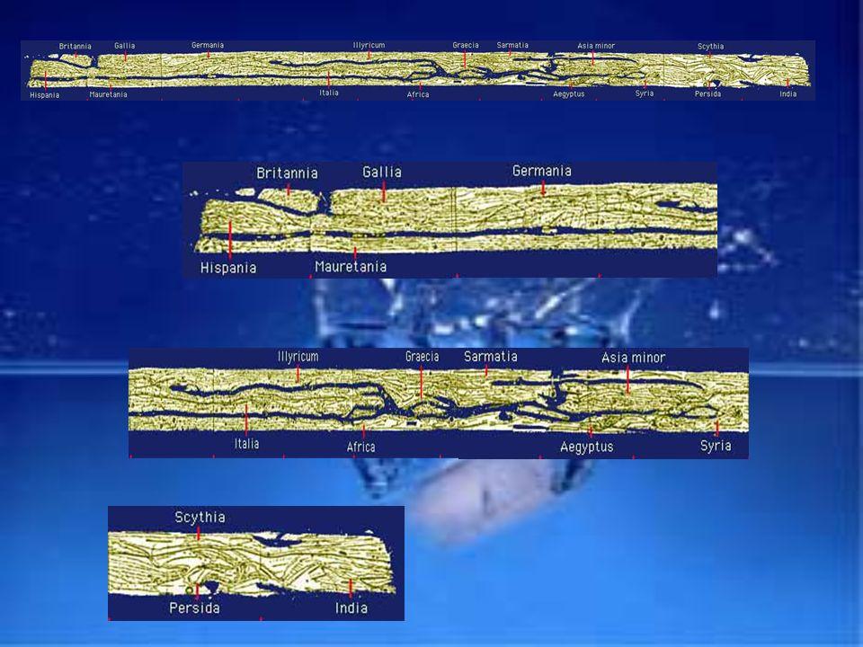 La Tabula Peuntingeriana è una carta lunga 7 m. e alta 34 cm. Riporta tutto il sistema stradale dell antica Roma. La Tabula è un documento che risale