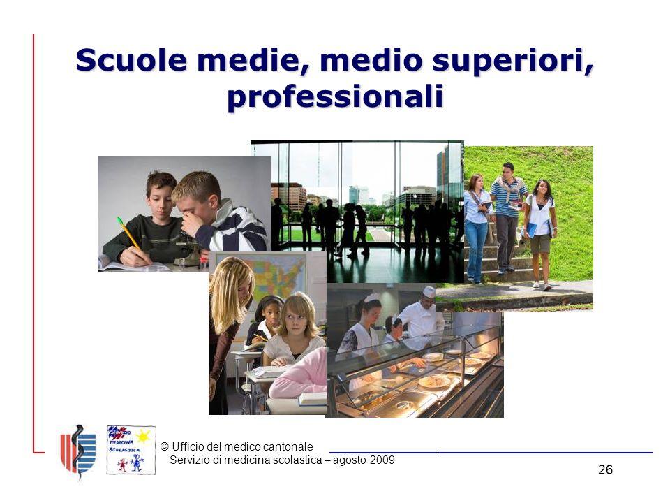 © Ufficio del medico cantonale Servizio di medicina scolastica – agosto 2009 26 Scuole medie, medio superiori, professionali