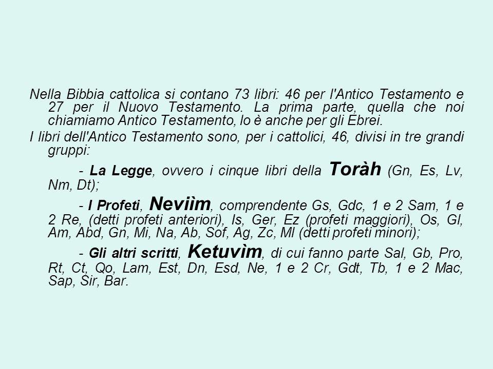 Nella Bibbia cattolica si contano 73 libri: 46 per l'Antico Testamento e 27 per il Nuovo Testamento. La prima parte, quella che noi chiamiamo Antico T
