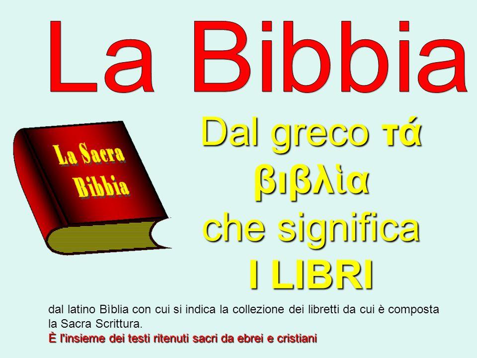 Dal greco τά βιβλ α che significa I LIBRI dal latino Bìblia con cui si indica la collezione dei libretti da cui è composta la Sacra Scrittura. È l'ins