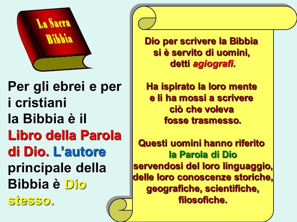 Per gli ebrei e per i cristiani la Bibbia è il Libro della Parola di Dio. Lautore principale della Bibbia è Dio stesso. Dio per scrivere la Bibbia si