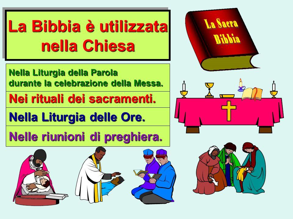 La Bibbia è utilizzata nella Chiesa La Bibbia è utilizzata nella Chiesa Nei rituali dei sacramenti. Nella Liturgia della Parola durante la celebrazion