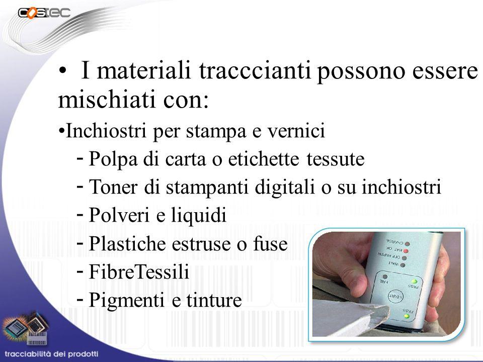 I materiali tracccianti possono essere mischiati con: Inchiostri per stampa e vernici - Polpa di carta o etichette tessute - Toner di stampanti digita